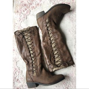 So Laceup Brown Knee-Hugh Riding Boots